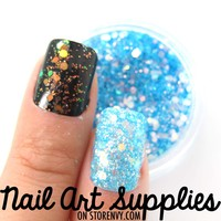 Mermaid Scales - Aqua Blue Clear Shimmer Glitter Nail Glitter Mix 3.5 Grams