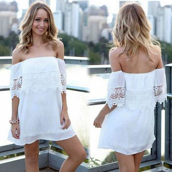 Summer Off-Shoulder Short Sleeve Mini Beach Dress