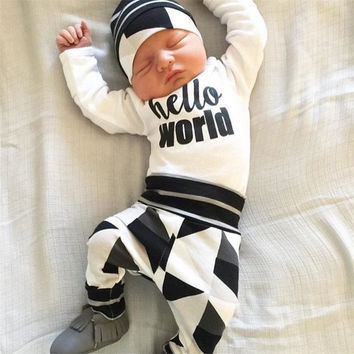 Newborn kids letters and printed suit Baby Girls Boys clothing sets Hello World Tops Romper+Deer Pants Outfits Set Clothes