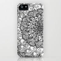 Shades of Grey - mono floral doodle iPhone & iPod Case by micklyn