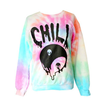 Chill Sweatshirt - Pastel Tie Dye Chill Sweatshirt - Screen Printed Alien Shirt,  Yin Yang Jumper - Drippy Grunge Sweatshirt
