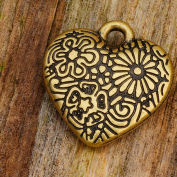 Antique Brass Ornate Heart Design Pendent Charm 23mm X 25mm Jewellery Findings Jewellery Making diyforstyle