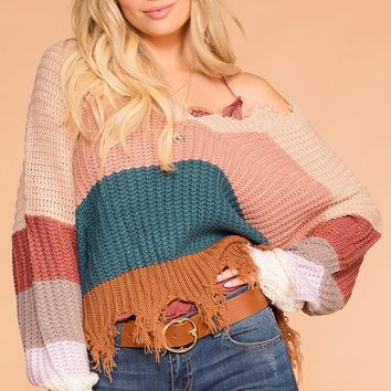 Late Nights Blush Colorblock Distressed Knit Sweater