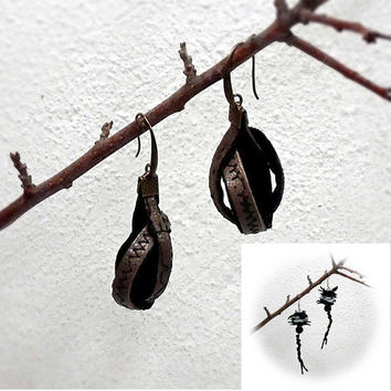 Leather earrings, dangling  earrings, original earrings made of natural material, a gift for her, Christmas gift, handmade