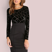 Croc Velvet Midi Dress BLACK -SheIn(Sheinside)