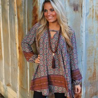 Bangles Boutique — BABYDOLL TOP/DRESS WITH BOHO PRINT