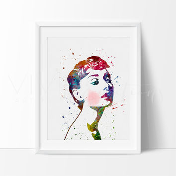 Audrey Hepburn Watercolor Art Print