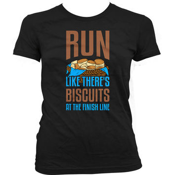 Funny Running T Shirt Run Like There's Biscuits At The Finish Line Marathon Tops Workout Gear Gym Lover Fitness TShirt Food Ladies Tee WT-30