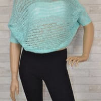 Lighten My Day Mint Knit Crop Top - Short Sleeves