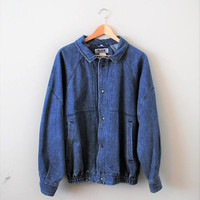 denim bomber jacket 80s vintage relaxed fit small unisex jean jacket