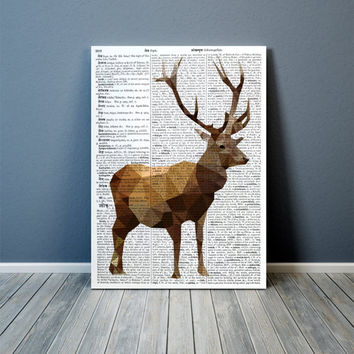 Geometrical deer poster Stag print Colorful decor Animal art TOA94-1