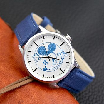 DISNEY Mens Quartz Wristwatch Canvas Mickey Mouse Watch