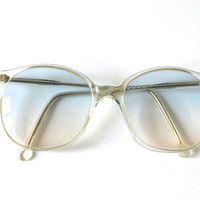 Vintage gray transparent oversized glasses sunglasses 70s womens spectacles blue oversize statement nerd frame eyewear