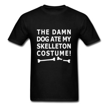 Dog ate my Skeleton Costume Men's T-Shirt Stranger Things Print T Shirts Original Short Sleeve Men T shirt Tops Summer