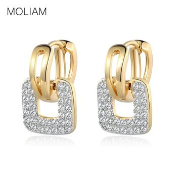 MOLIAM Fashion Design Small Huggie Hoop Earrings for Womens Cluster Paved Zirconia Crystal Stone Earing Jewelry MLE218