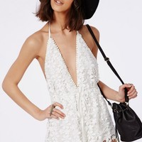 Missguided - Lace Halterneck Drawstring Playsuit White