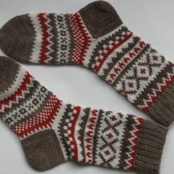 Back to school Grey white red warm autumn fall winter Scandinavian pattern knit wool short socks Christmas gift CUSTOM MADE