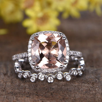 2.4 Carat Morganite Wedding Set 14k White Gold Diamond Bridal Ring Unique 8-Prongs Full Eternity Stacking Matching Band