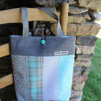 Ecofriendly JOLLY Patchwork Tote, Gray, Aqua, Quilted Bag, IPad Tote, Netbook Tote  -- Upcycled Recycled Repurposed