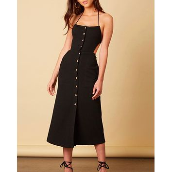 cotton candy la - button down midi open back dress - black