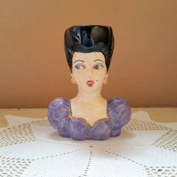 Lady Hand Painted Figural Bust Vase Calahan Ceramic Center Fort Thomas Kentucky