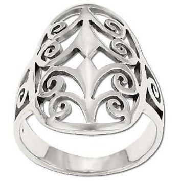Sterling Silver Filigree Stylized Curly Limbed Tree Ring
