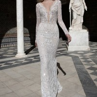 Alon Livné White Kim Embellished Lace V-Neck Gown (In Selected Stores Only) | Nordstrom