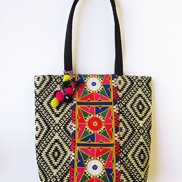 Colourful geometric HIPPIE tribal Style Embroidered TOTE BAG with techno tribal geometric print handmade Boho handbag, Ethnic India