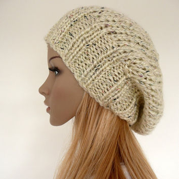 Slouch beanie - hand knitted hat in cream with multicolor flecks - slouchy hat - unisex