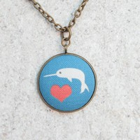 I Love Narwhal Fabric Covered Button Necklace