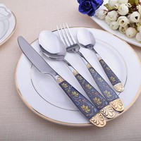 New High Set Gold Stainless Steel Plated Dinnerware (1Spoon + 1 Fork + 1 Knife +1 TeaSpoon) Mirror Polishing Cutlery