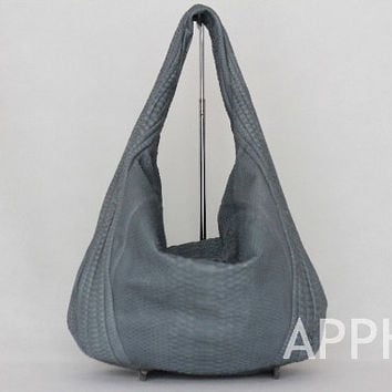 Betty GenuineExotic Python Leather Hobo Handbag in Grey / Gray Colour