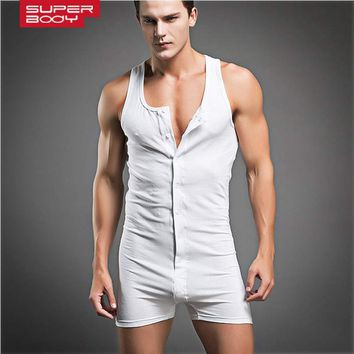 Superbody brand one-piece cotton underwear men compression sleeveless quick dry sexy mens sleepwear body shaper male pajamas set