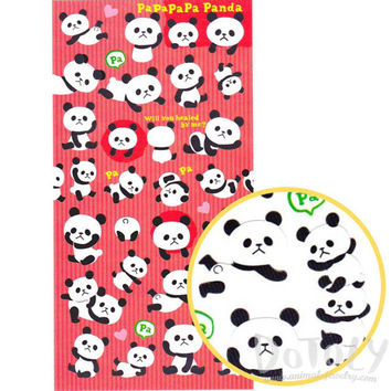Kawaii Panda Bear Animal Themed Flat Paper Stickers from Japan | Cute Animal Themed Scrapbook Decorating Supplies