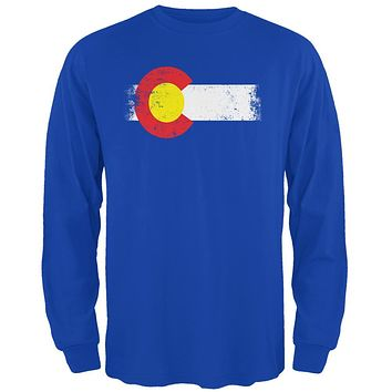 Born and Raised Colorado State Flag Mens Long Sleeve T Shirt