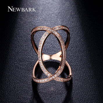 NEWBARK Finger Ring Vintage Rings For Women Tiny Cubic Zirconia Paved Two Tone Cross Jewelry Minimalist Exaggerated Midi Anel