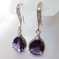 Amethyst Earrings - Purple silver Earrings Teardrop Glass - Bridesmaids gifts Earrings - Wedding earrings - Cubic Zirconia Ear wires