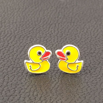 Rubber ducky sterling silver stud earrings birthday gift grand daughter friend teen daughter goddaughter