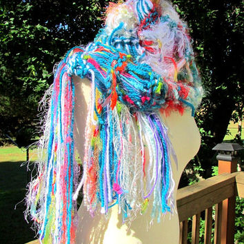 fashion scarf, knit fringe scarf, loose knit scarf, Boho chic scarf, handknit scarf, Womens gifts, Winter Accessories, gifts for her,