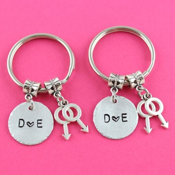 Matching Lesbian Couples Keychain Set - Lesbian Girlfriend Gift - Female Symbol Key Chain with Hand Stamped Initials - Valentine's Day Gift