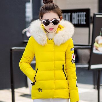 Warm Women Jacket Winter Coat Thicken Cotton Padded Jacket for Woman Coat Fur Hooded Women Fur Jacket Outwear Female Parkas