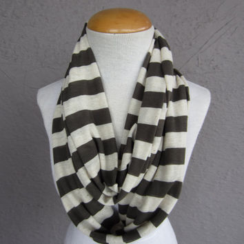 Olive Green and Cream Striped Infinity Scarf - Striped Circle Scarf - Green and White Striped Scarf