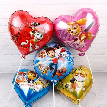 6pcs Paw Patrol foil balloons Authorized 18inch paw patrol Birthday party decorations kids toys Chase Marshall helium balloon