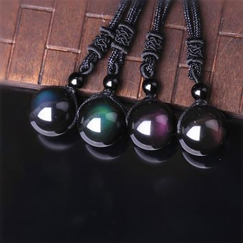 1pc Beads Ball Natural Stone Rainbow Eye Black Obsidian Transfer Lucky Love Crystal Necklace Pendant for Unisex male female Jewe