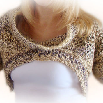 Shrug With Cowl, Crochet Bolero, Alpaca Blend, Purple Beige Brown Cream, Fashion Shrug