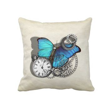 Steam Punk Teal Blue Butterfly Pocket Watch Chains Throw Pillow from Zazzle.com