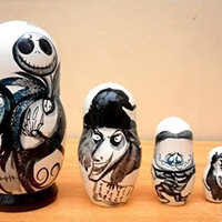 "Russian nesting Doll ""The Nightmare before Christmas"" Jack Skellington. Set of 5 piece. Hand-painted in Russia."