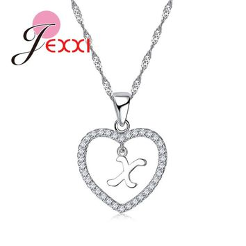 JEXXI Special Collections A to Z Letters Real 925 Sterling Silver Lovely Heart Shape Pendant Necklace Crystals Women Accessory