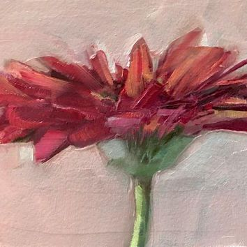 CREYDC0 ACEO Original Oil Painting, Flower, Red, Gerbera Daisy by Gary Bruton