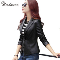 PU Leather Women Blazers & Jackets New Cool Blazer Women blazer Coat Casual One Button Leather Blazer Female Women Jackets